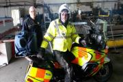 Blood Bikes rider Mark Sainsbury with PrintMet technician, Clive Collins, with the finished article ready to go into service