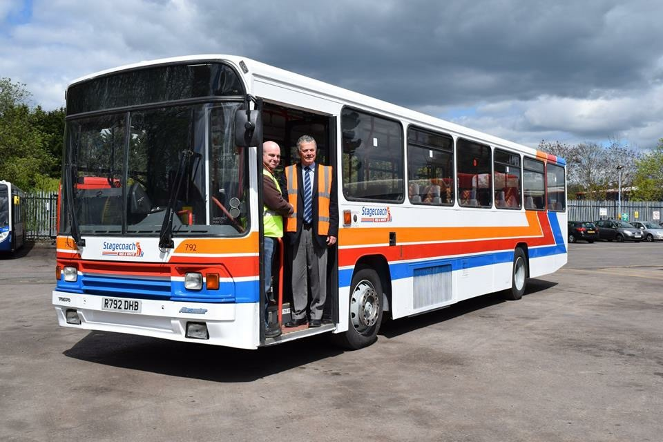 (Left to right) Mike Taylor, chairman of Cardiff Transport Preservation Group with John Gould, MD Stagecoach in South Wales with the donated bus