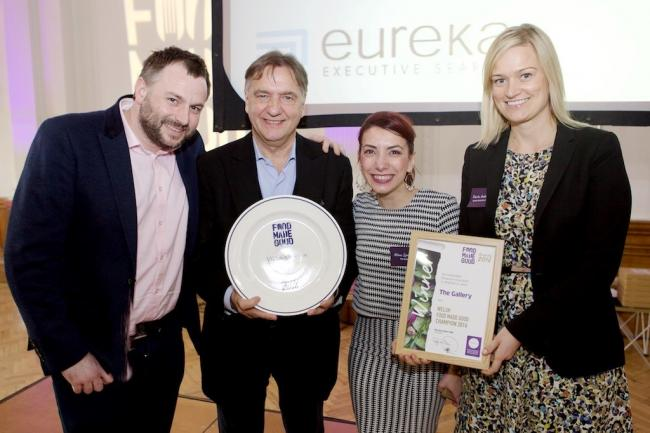 The Gallery's owner Barnaby Hibbert and partner Alina Spatariu pictured either side of chef Raymond Blanc and Karin Andersson a junior partner at award sponsors Eureka Executive