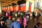 Runners gather at the new start under the Western shelter. Picture: Malcolm Bradley