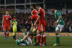INJURY: Ireland's Seamus Coleman suffered a broken leg after a challenge from Wales' Neil Taylor at the Aviva Stadium in Dublin