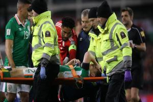 PAIN: Wales captain Ashley Williams consoles Iris counterpart and Everton teammate Seamus Coleman on Friday