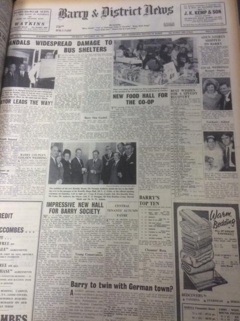 Front page of the Barry & District News, from Thursday November 2, 1967