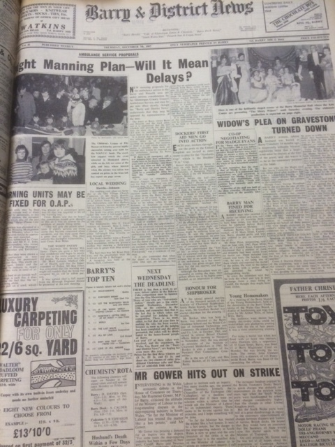 Front page of the Barry & District News, from Thursday December 7, 1967