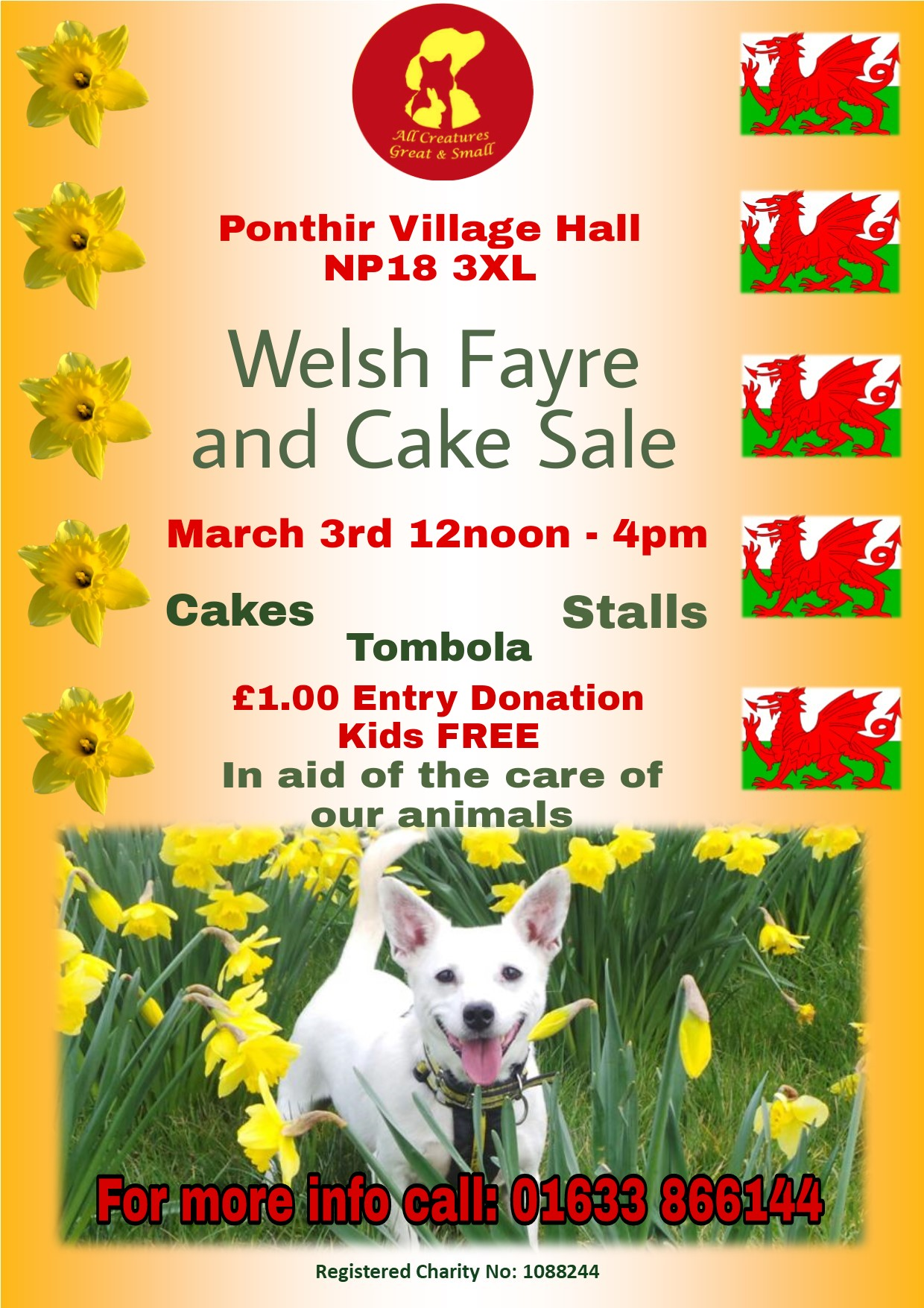 Welsh Fayre and Cake Sale for All Creatures Great and Small