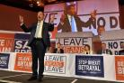 Nigel Farage speaks at a Leave Means Leave rally at the Queen Elizabeth II Conference Centre in central London