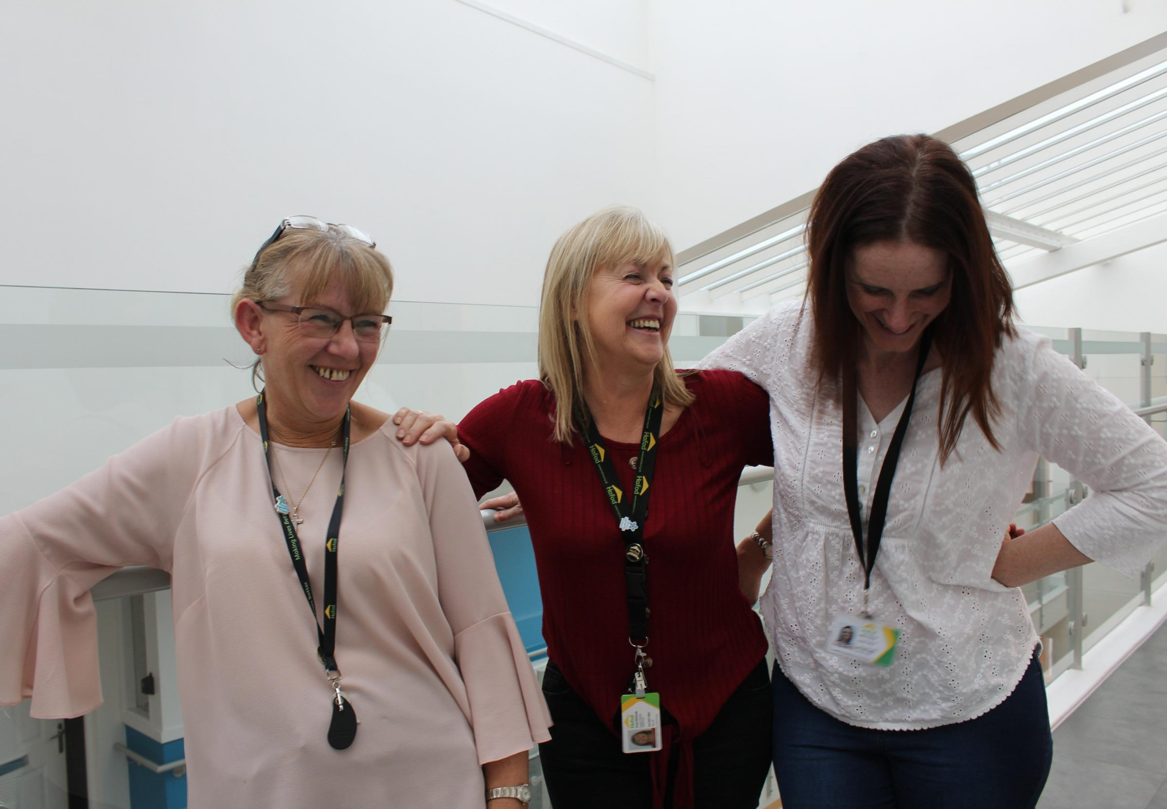 Hafod's team of support workers Susanne Osman, Carys Richards, and Helen Dobson