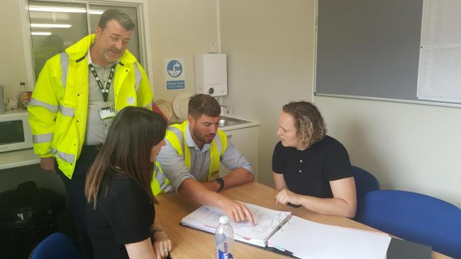 Vale council housing development manager,  Andrew Freegard, Jehu responsible business coordinator, Lisa Newton, Geraint Thomas, site manager, Lynsey Holley-Matthews – marketing and responsible business manager, of Jehu