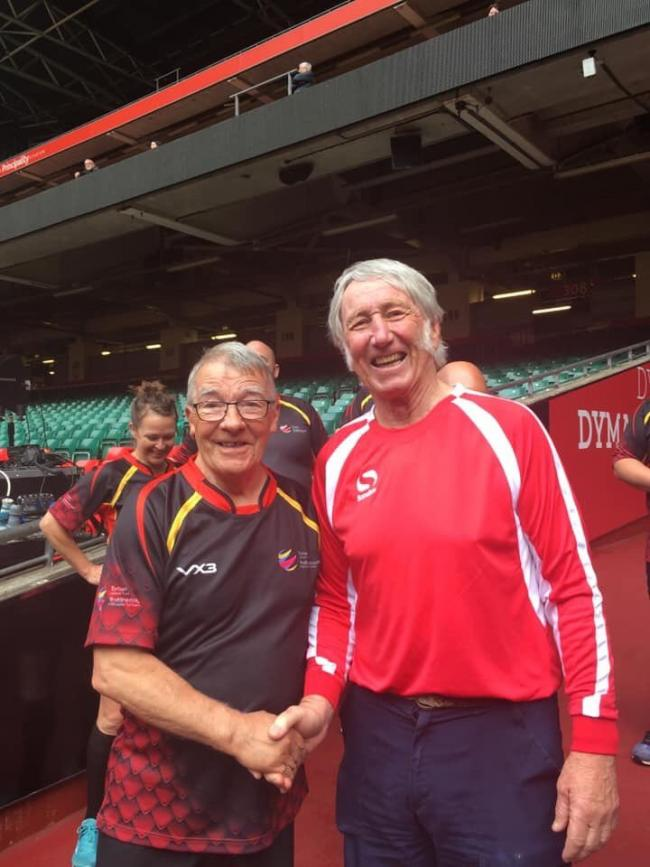 ICON: Newport's Henry Swift with Wales and Lions legend JPR Williams