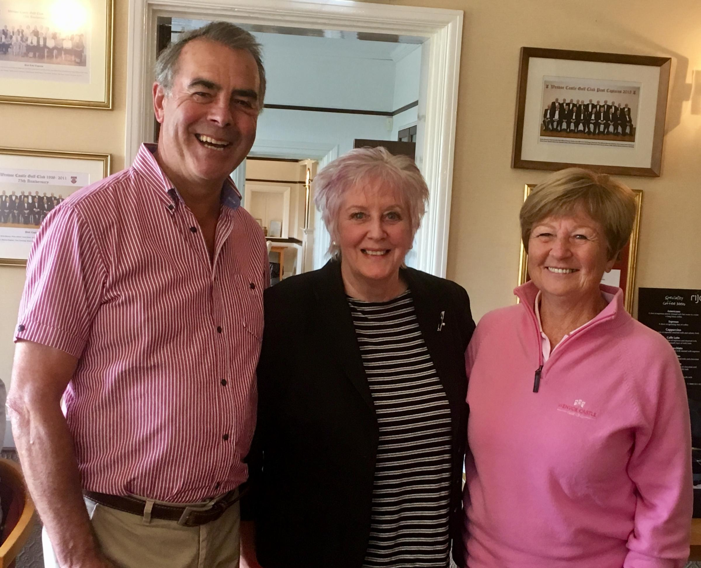 Lesley Sherrard, club captain (centre) congratulating Jeff and Lynda Hudd on winning the Bowen Greenwood Trophy