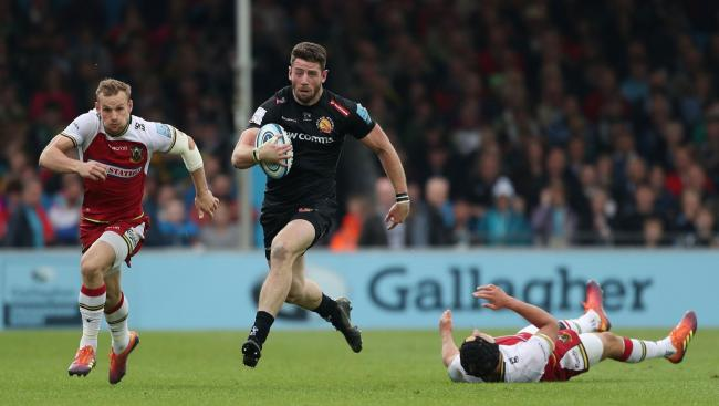 ON THE RUN: Wales wing Alex Cuthbert races clear for Exeter in their Premiership semi-final win against Northampton
